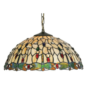Tiffany Ceiling Pendant Lights - Oaks Tiffany Dragonfly II Pendant Light, Adjustable Chain, Single Bulb Fitting OT 1227/16P