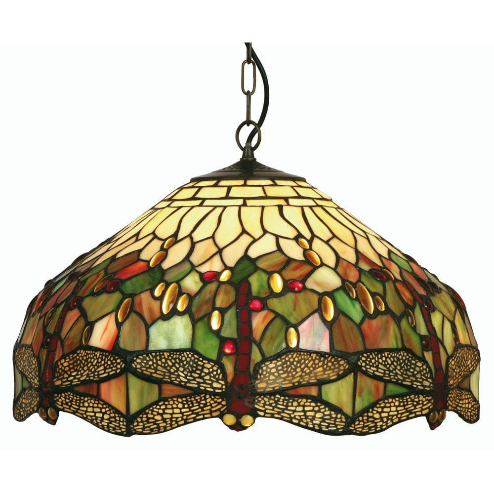 Tiffany Ceiling Pendant Lights - Oaks Tiffany Dragonfly Medium Ceiling Pendant Light,Adjustable Chain,Single Bulb Fitting OT 1485/16P