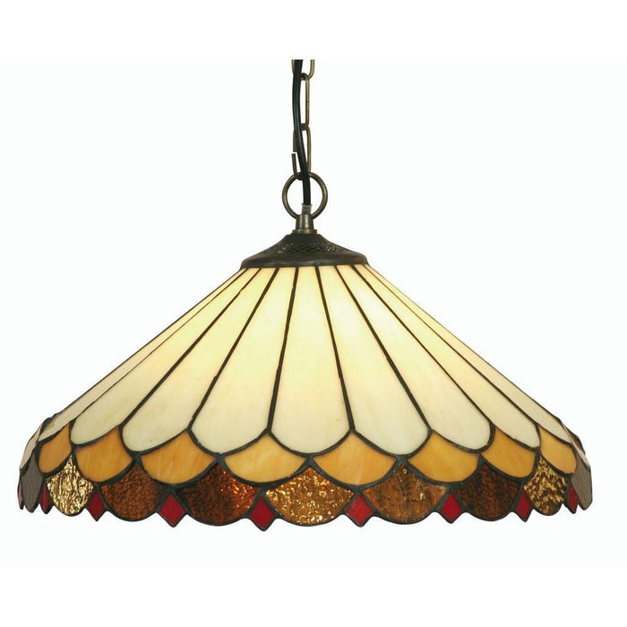 Lysander Large Tiffany Ceiling Light, single bulb fitting