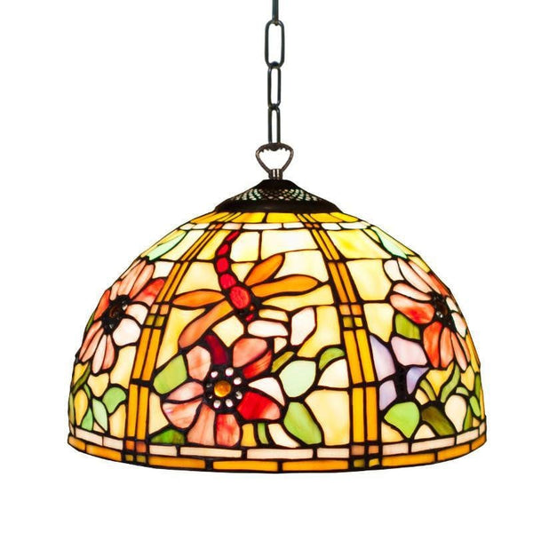 Tiffany Ceiling Pendant Lights - Pavot Tiffany Small Ceiling Pendant Light,Adjustable Chain,Single Bulb Fitting