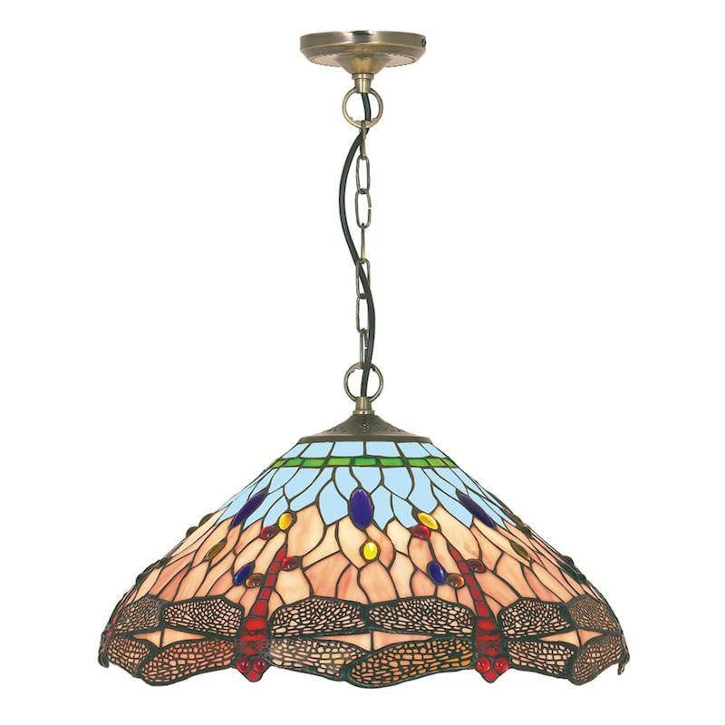 Tiffany Ceiling Pendant Lights - Searchlight Dragonfly Tiffany Pendant Ceiling Light 1283-16