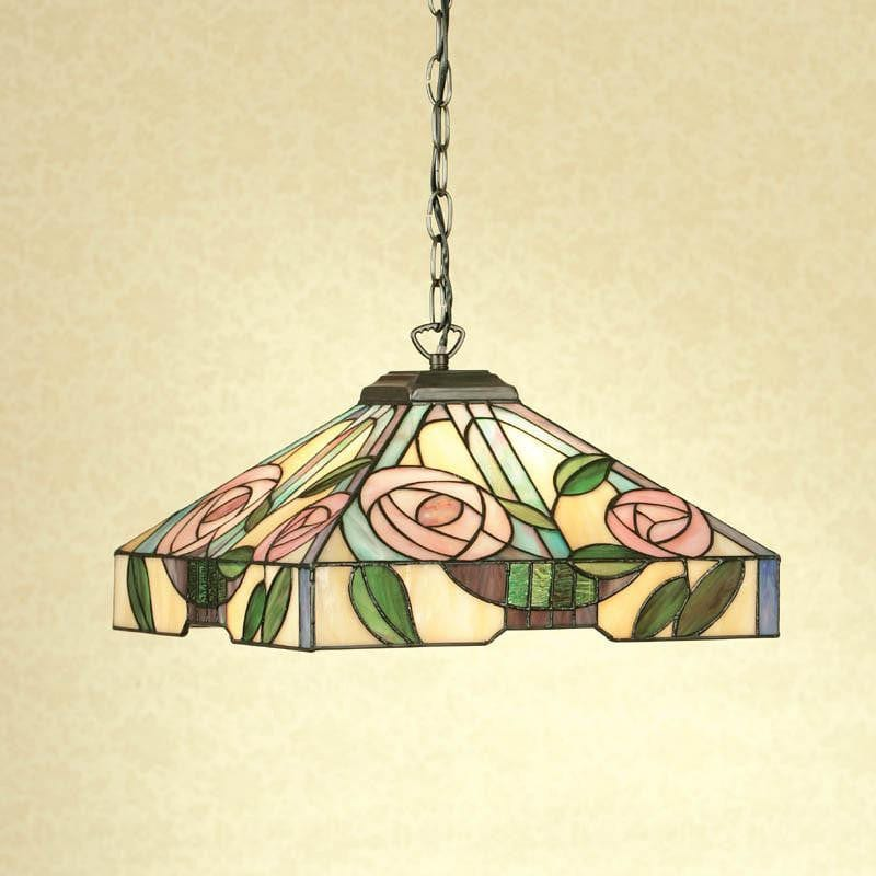 Tiffany Ceiling Pendant Lights - Willow Medium Tiffany Ceiling Pendant Light,Adjustable Chain,Single Bulb Fitting 64385