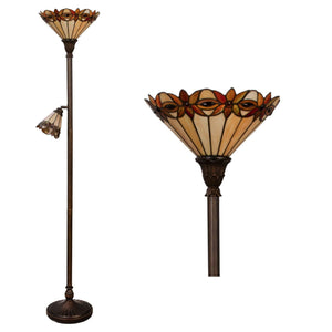 Tiffany Floor Lamps - Ajaccio Tiffany Torchiere Uplighter Floor Lamp