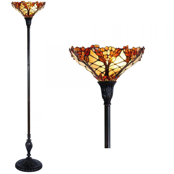 Tiffany Floor Lamps - Autumn Leaf Tiffany Torchiere Uplighter Floor Lamp 5LL-5288