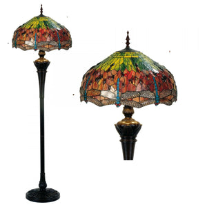 Tiffany Floor Lamps - Flame Dragonfly Tiffany Floor Lamp