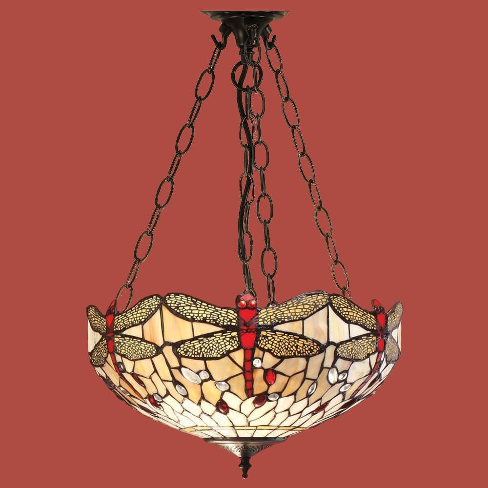 Inverted Ceiling Pendant Lights - Beige Dragonfly Large Inverted Pendant Light (adjustable Chain) T056SH50 & SU3C/ADJ