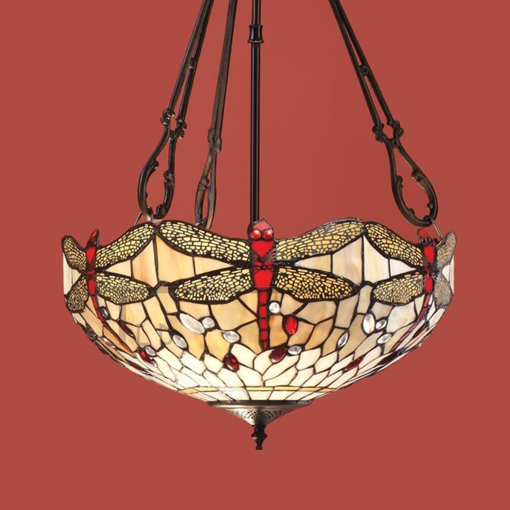 Inverted Ceiling Pendant Lights - Beige Dragonfly Medium Inverted Pendant Light (fancy Chain) T056SH40 & SU3FC