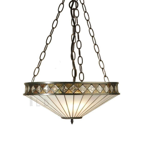 Tiffany Inverted Ceiling Pendant Lights - Fargo Tiffany Medium Inverted Pendant Light (adjustable Chain) TOO4SH40 & SU3C/ADJ