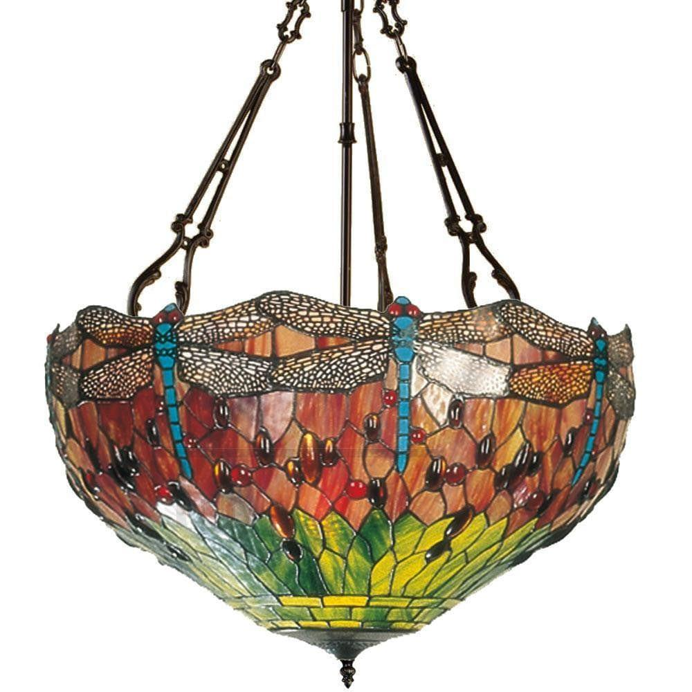 Inverted Ceiling Pendant Lights - Flame Dragonfly Inverted Pendant Light (fancy Chain)