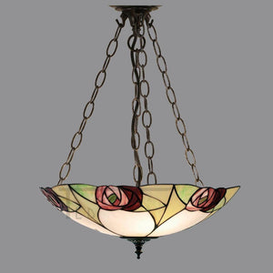 Tiffany Inverted Ceiling Pendant Lights - Ingram Large Tiffany Inverted Ceiling Pendant Light TA20FL & SU3C/ADJ