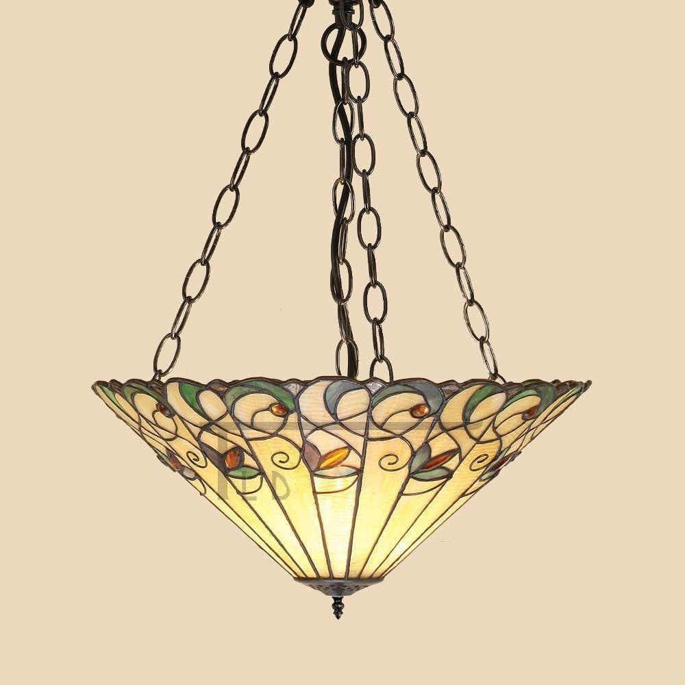 Inverted Ceiling Pendant Lights - Jamelia Large 3 Light Inverted Ceiling Pendant Light (adj Chain) T095SH50 & SU3C/ADJ