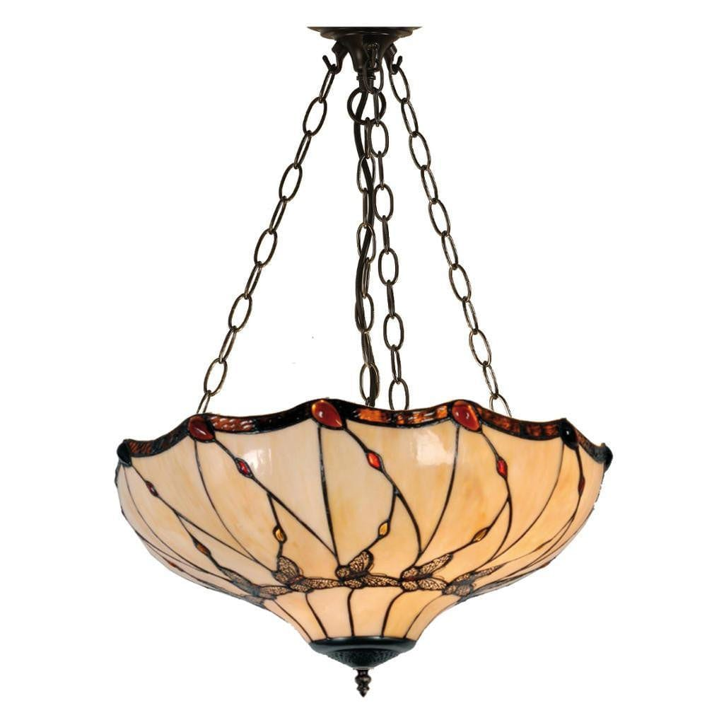 Papillon inverted tiffany ceiling light