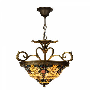 Tiffany Inverted Ceiling Pendant Lights - Regency Tiffany 3 Bulb Inverted Pendant Ceiling Light