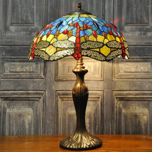 Blue & Yellow Dragonfly Tiffany Lamp
