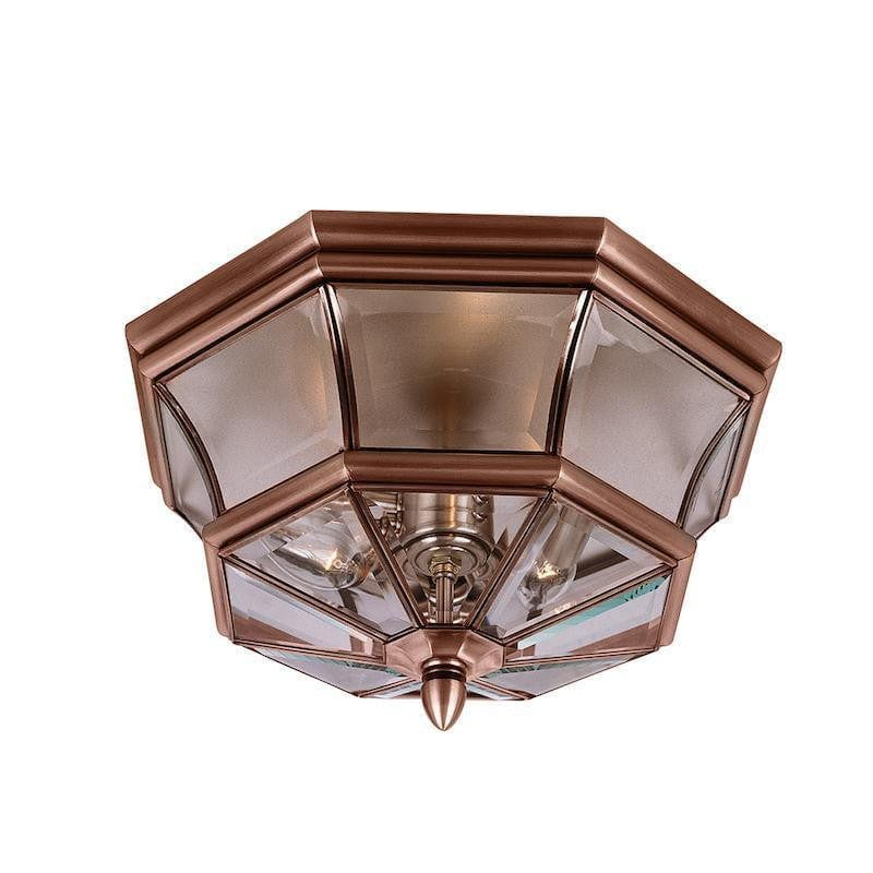 Quoizel Newbury Aged Copper Outdoor Flush Light by Elstead Outdoor Lighting