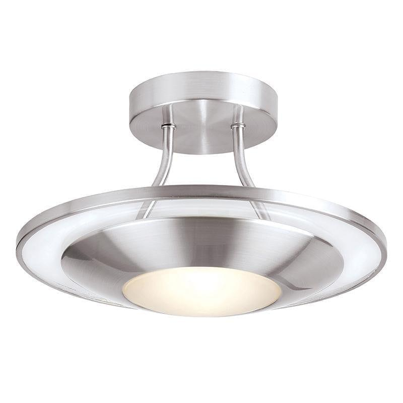 Tiffany Lamps & Lighting Firenz 1LT Semi Flush Satin Chrome with Clear & Frosted Glass Semi Flush Ceiling Light 387-30SCby Endon