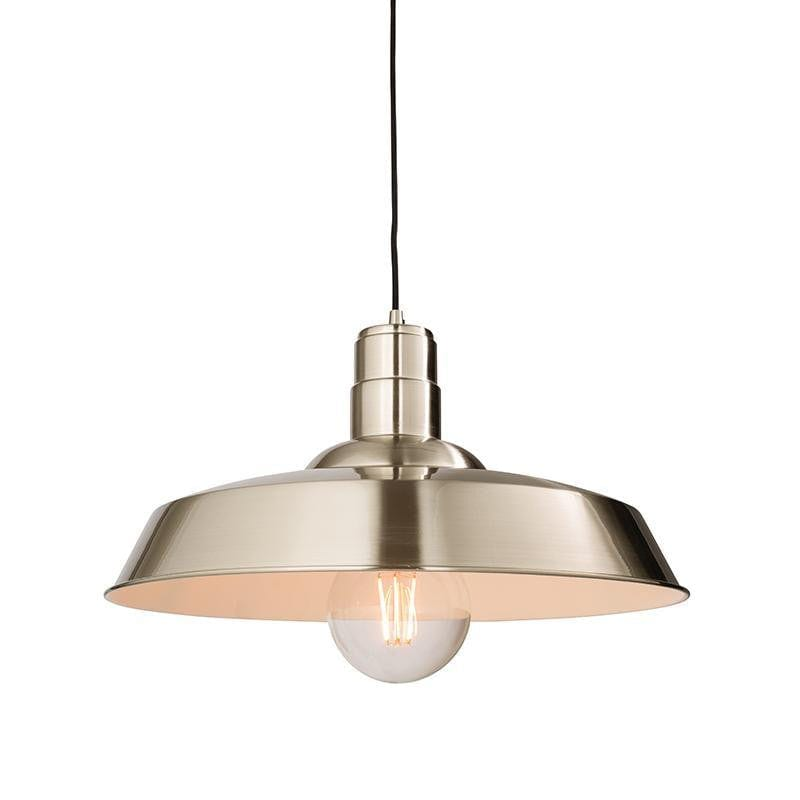 Tiffany Lamps & Lighting Moore 1LT Gloss Nickel Pendant Ceiling Light 61282by Endon