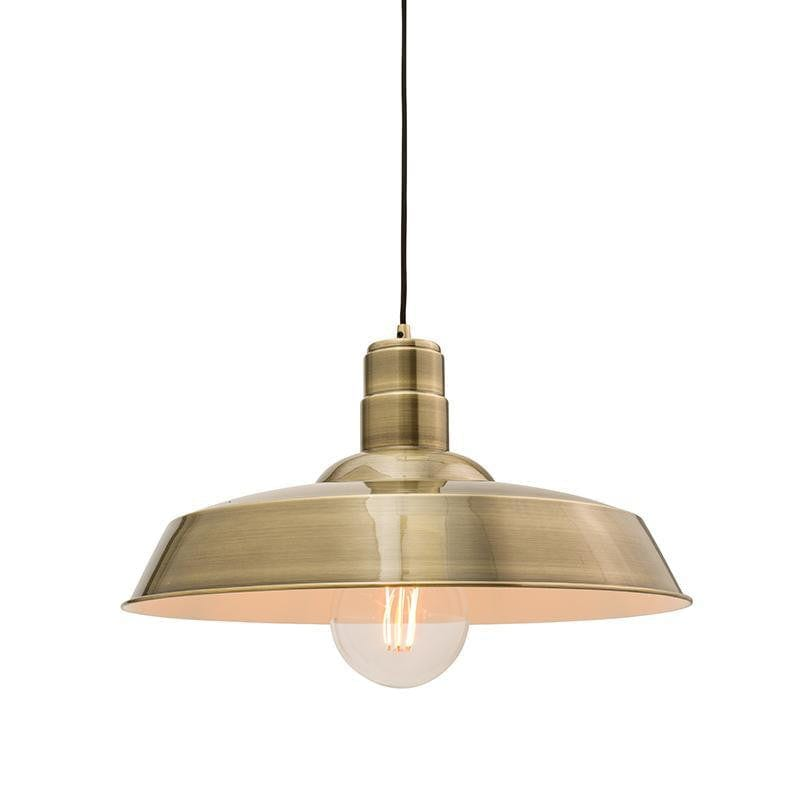 Tiffany Lamps & Lighting Moore 1LT Antique Brass Pendant Ceiling Light 61283by Endon