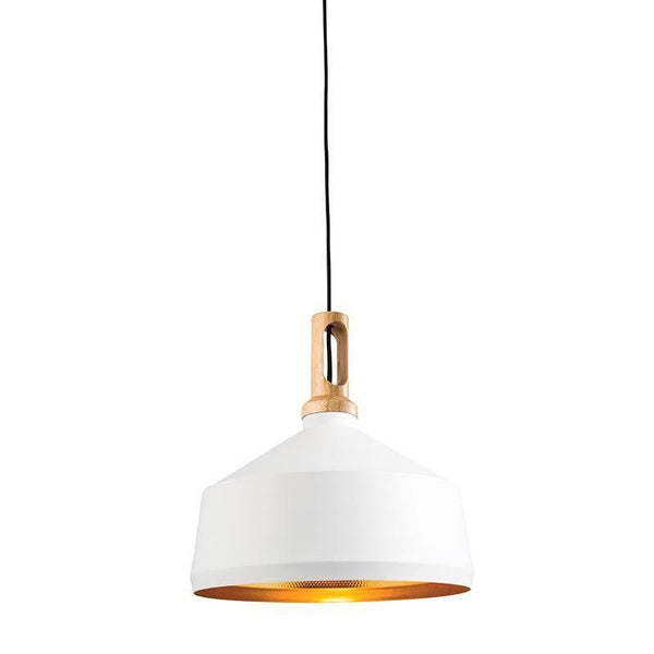 Tiffany Lamps & Lighting Garcia 1LT Matt White Hammered Gold & Light Wood Pendant Ceiling Light 61352by Endon