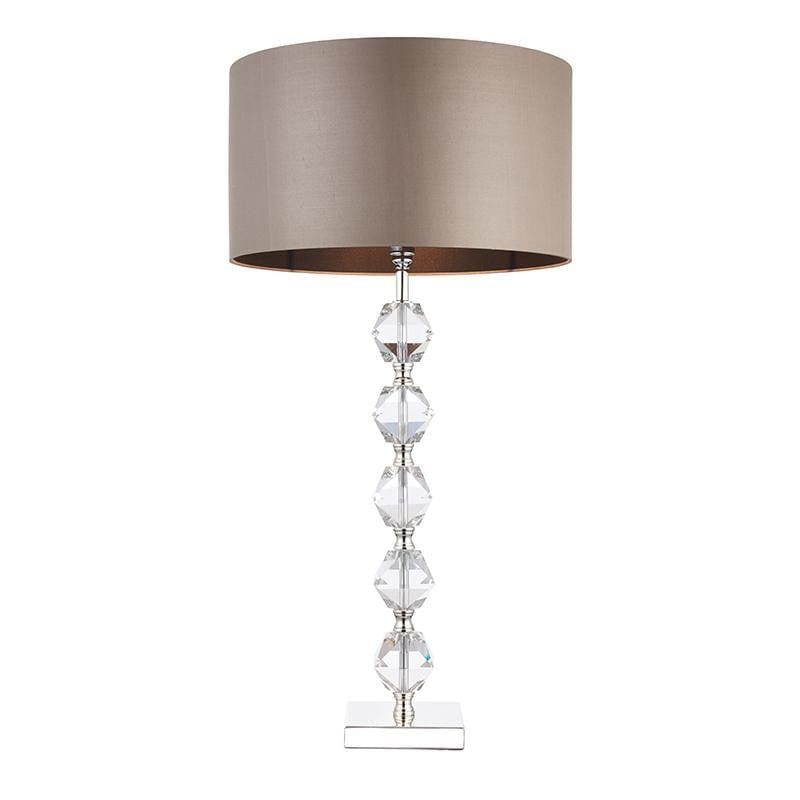 Verdone Clear Crystal Glass & Taupe Silk Table Lamp VERDONE