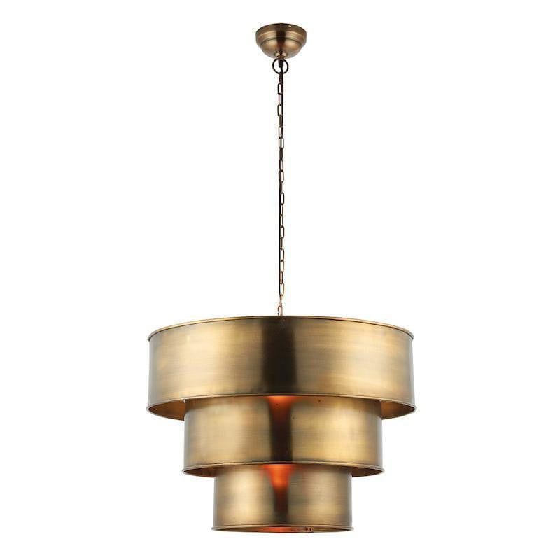 Tiffany Lamps & Lighting Morad 1LT Aged Brass Pendant Ceiling Light 69783 by Endon