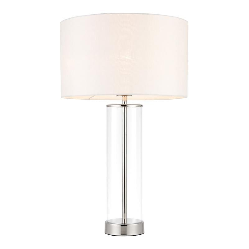 Lessina Touch Table Vintage White Faux Silk & Bright Nickel Table Lamp 70600