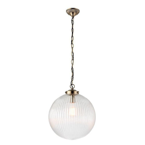Tiffany Lamps & Lighting Brydon 1LT Clear Ribbed Glass & Antique Brass Pendant Ceiling Light  71124by Endon