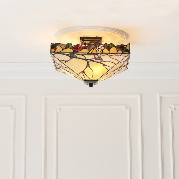 Arbois Semi-Flush Tiffany Ceiling Light