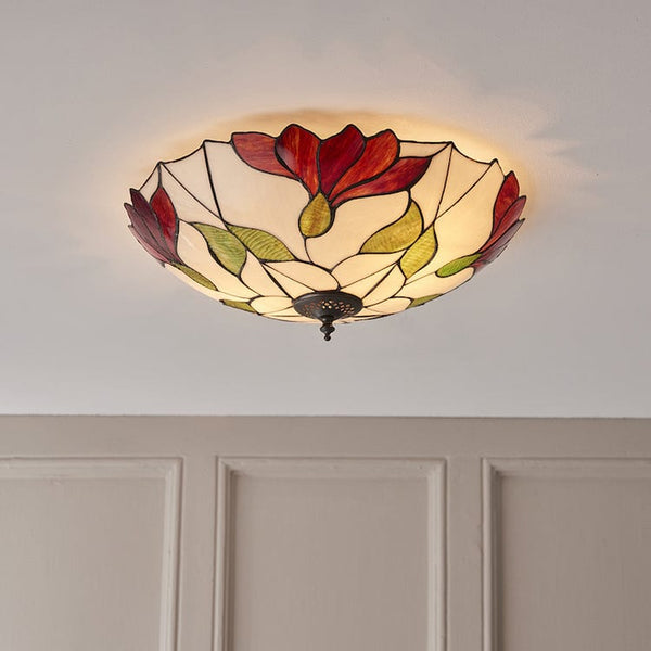 Botanica Large Flush Tiffany Ceiling Light