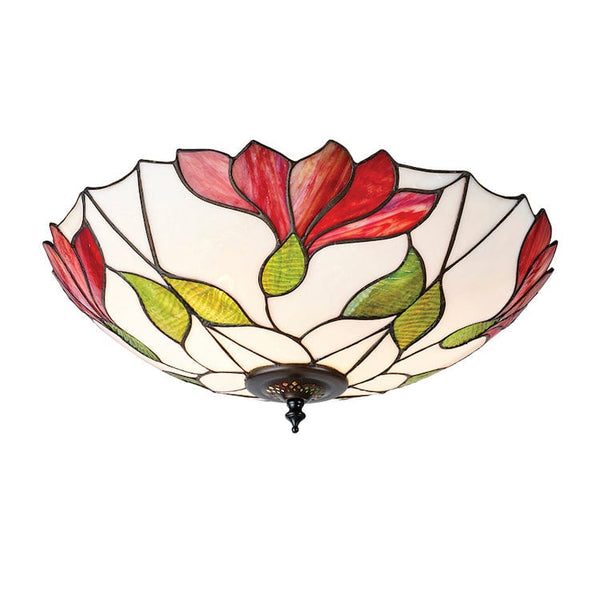 Tiffany Ceiling Flush & Semi Flush Lights - Botanica Large Tiffany 2 Light Flush Ceiling Light 63960