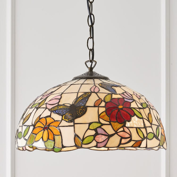 Tiffany Ceiling Pendant Lights - Butterfly Medium Tiffany Ceiling Light 1 Bulb Fitting