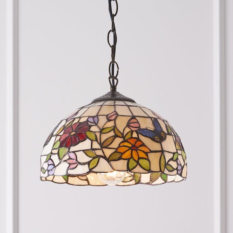 Tiffany Ceiling Pendant Lights - Butterfly Small Tiffany Ceiling Light 1 Bulb