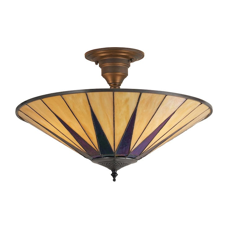 Tiffany Ceiling Flush & Semi Flush Lights - Dark Star Tiffany Semi Flush Ceiling Light TG08SH & SF01