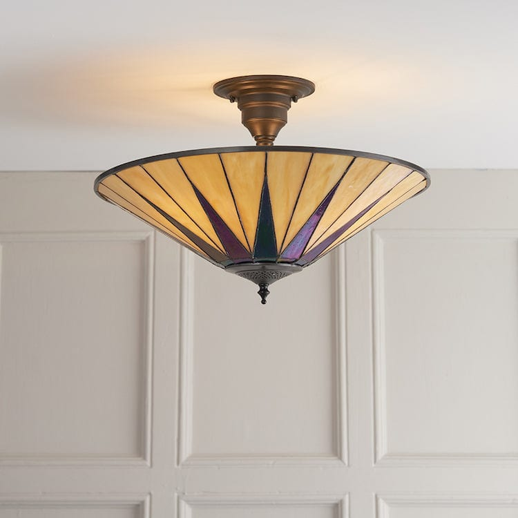 Dark Star Semi Flush Tiffany Ceiling Light