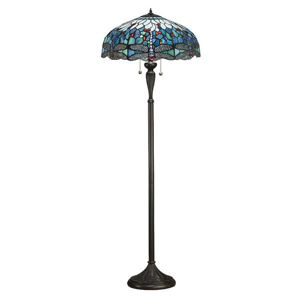 Tiffany Floor Lamps - Blue Dragonfly Tiffany Floor Lamp 64069