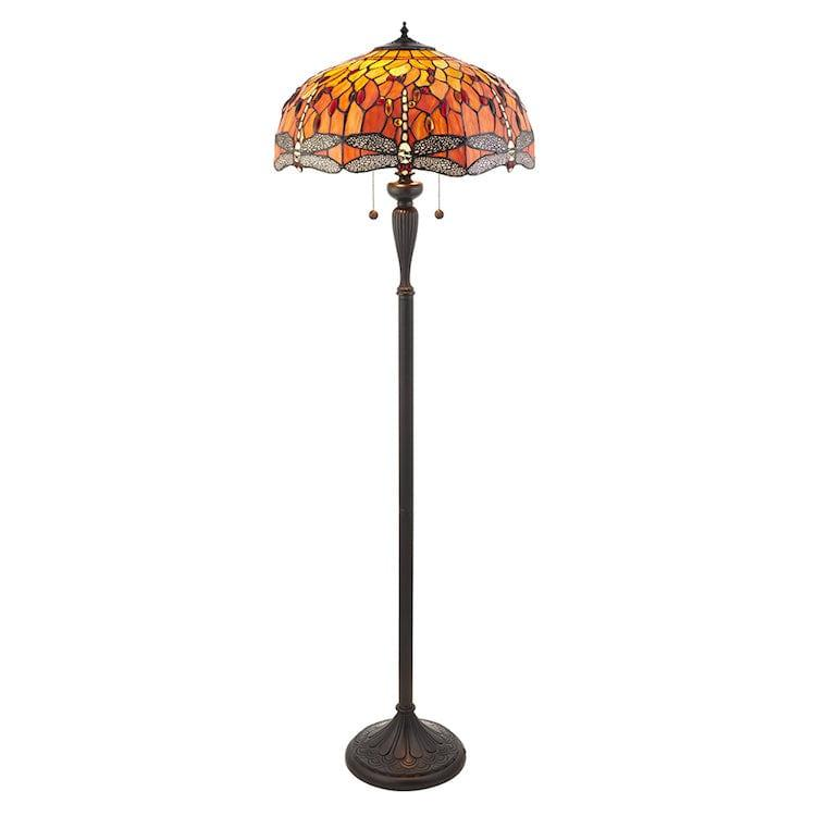 Tiffany Floor Lamps - Flame Dragonfly Tiffany Floor Lamp 64070