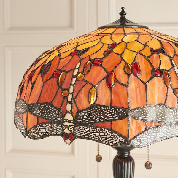 Flame Dragonfly Tiffany Floor Lamp 64070