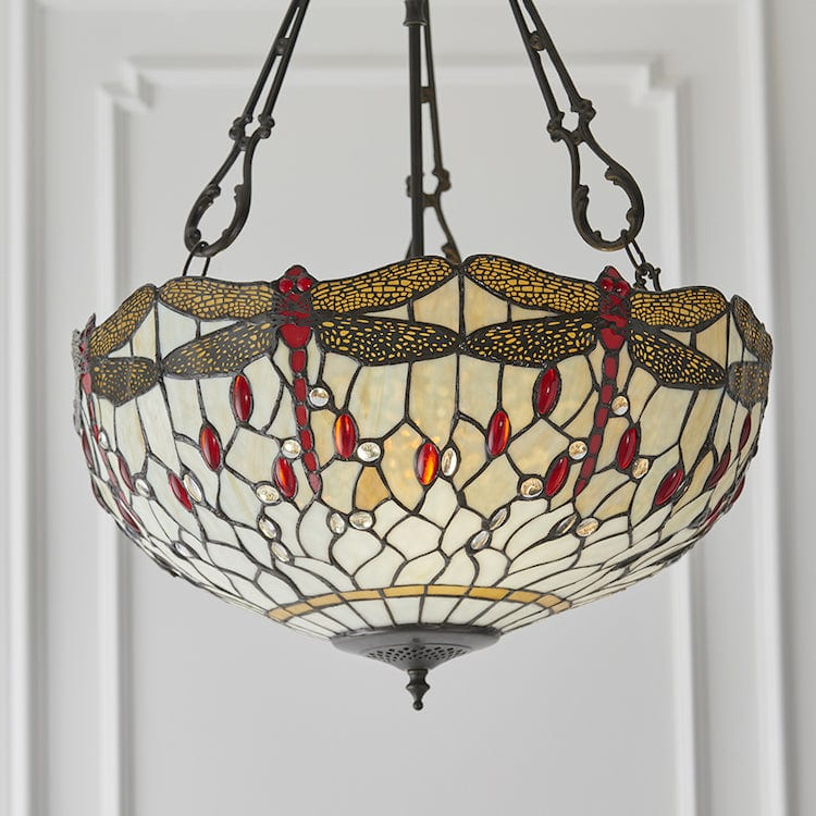 Beige Dragonfly Large Inverted Tiffany Ceiling Light