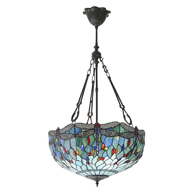 Inverted Ceiling Pendant Lights - Blue Dragonfly Large Inverted Ceiling Light (fancy Chain) 64074