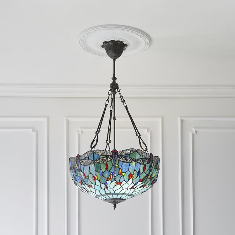 Blue Dragonfly Large Inverted Tiffany Ceiling Light (fancy chain)