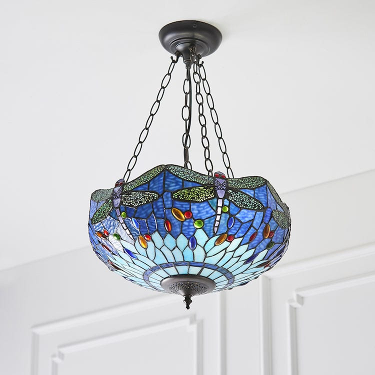 Blue Dragonfly Medium Inverted Tiffany Ceiling Light