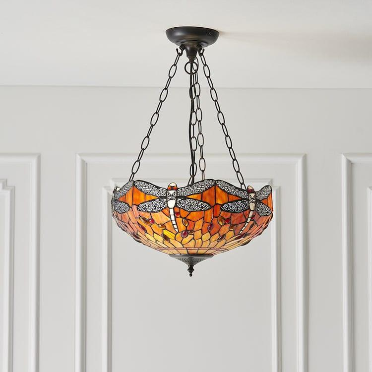 Inverted Ceiling Pendant Lights - Flame Dragonfly Medium 3 Light Inverted Pendant Light (adj Chain) 64076
