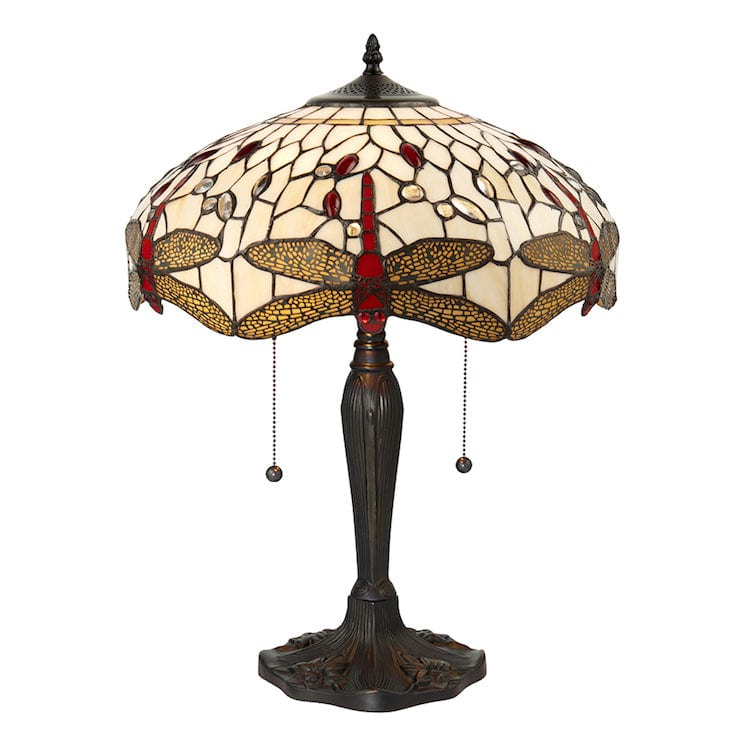 Large Tiffany Lamps - Beige Dragonfly Tiffany  Lamp 64085