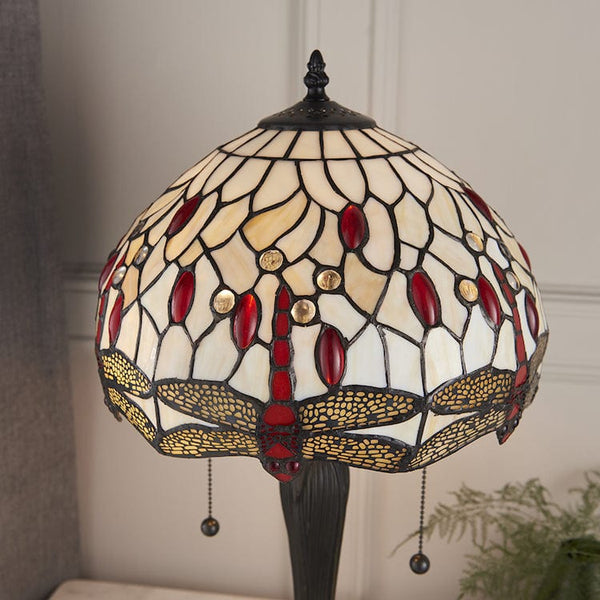 Beige Dragonfly Intermediate Tiffany Lamp 64086