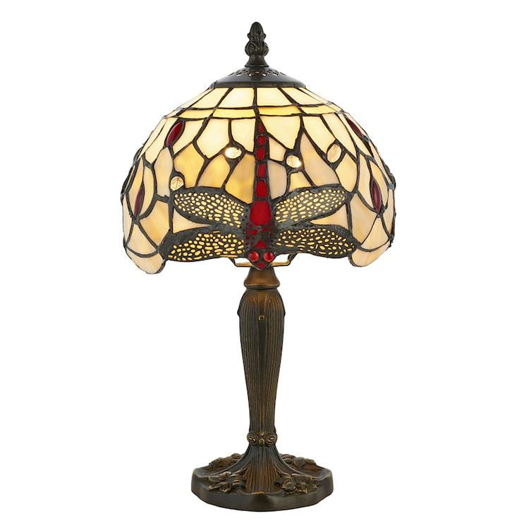 Bedside Lamps - Beige Dragonfly Tiffany Small Table Lamp 64087