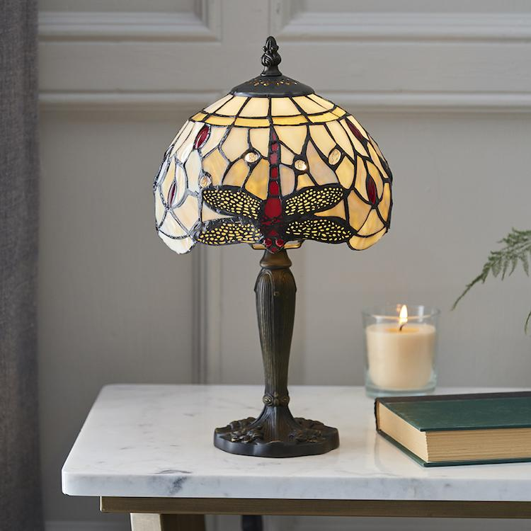 Beige Dragonfly Tiffany Lamp 64087