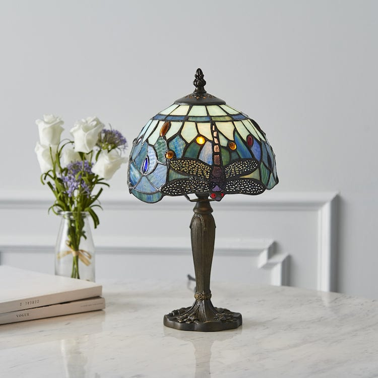 Tiffany Bedside Lamps - Blue Dragonfly Tiffany Intermediate Table Lamp 64088