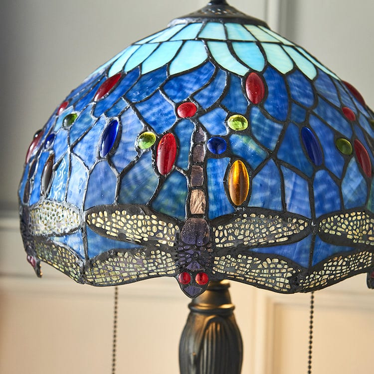 Blue Dragonfly Small Tiffany Table Lamp