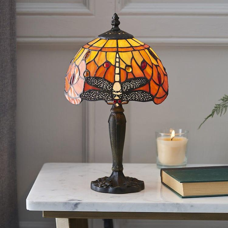 Tiffany Bedside Lamps - Flame Dragonfly Tiffany Intermediate Table Lamp 64091