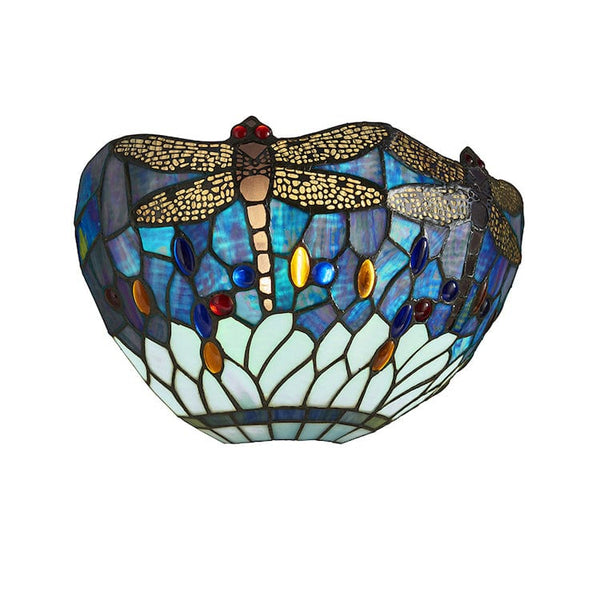 Tiffany Wall Lights - Blue Dragonfly Tiffany Wall Light 64102